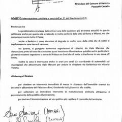 L'interrogazione sulla sicurezza di viale Marconi a firma dei consiglieri di centrodestra.