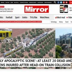 """""""Head-on Crash"""": la notizia della tragedia ferroviaria fa il giro del mondo"""