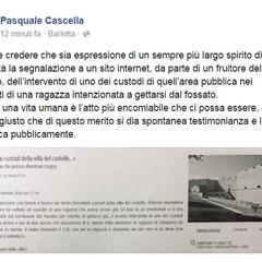Il post del sindaco su Facebook.