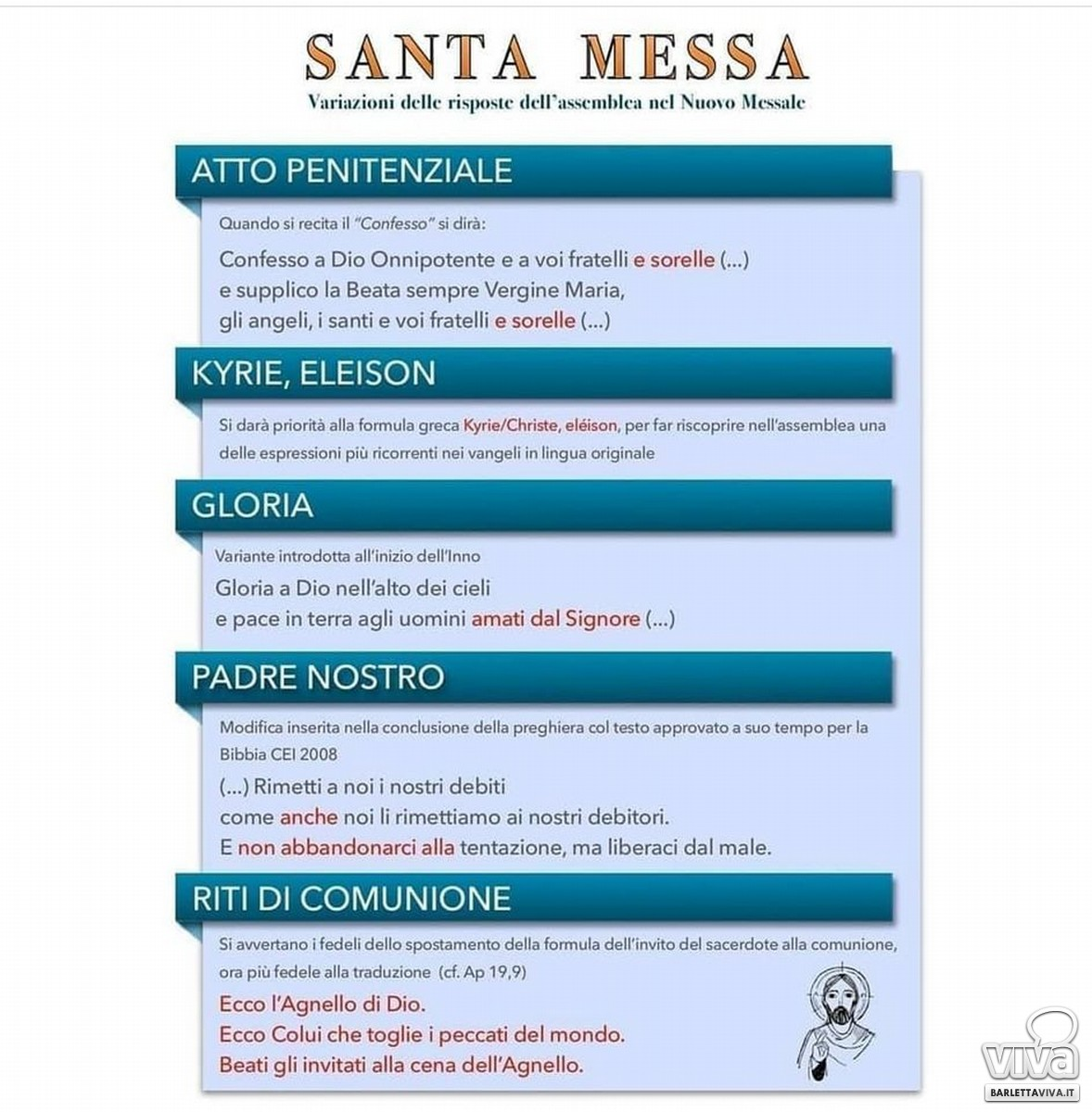 Variazioni alla Santa Messa