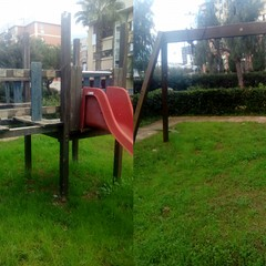 Giostre distrutte nei giardini pubblici di Barletta