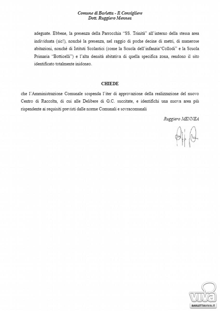 Domanda di attualità del consigliere Ruggiero Mennea