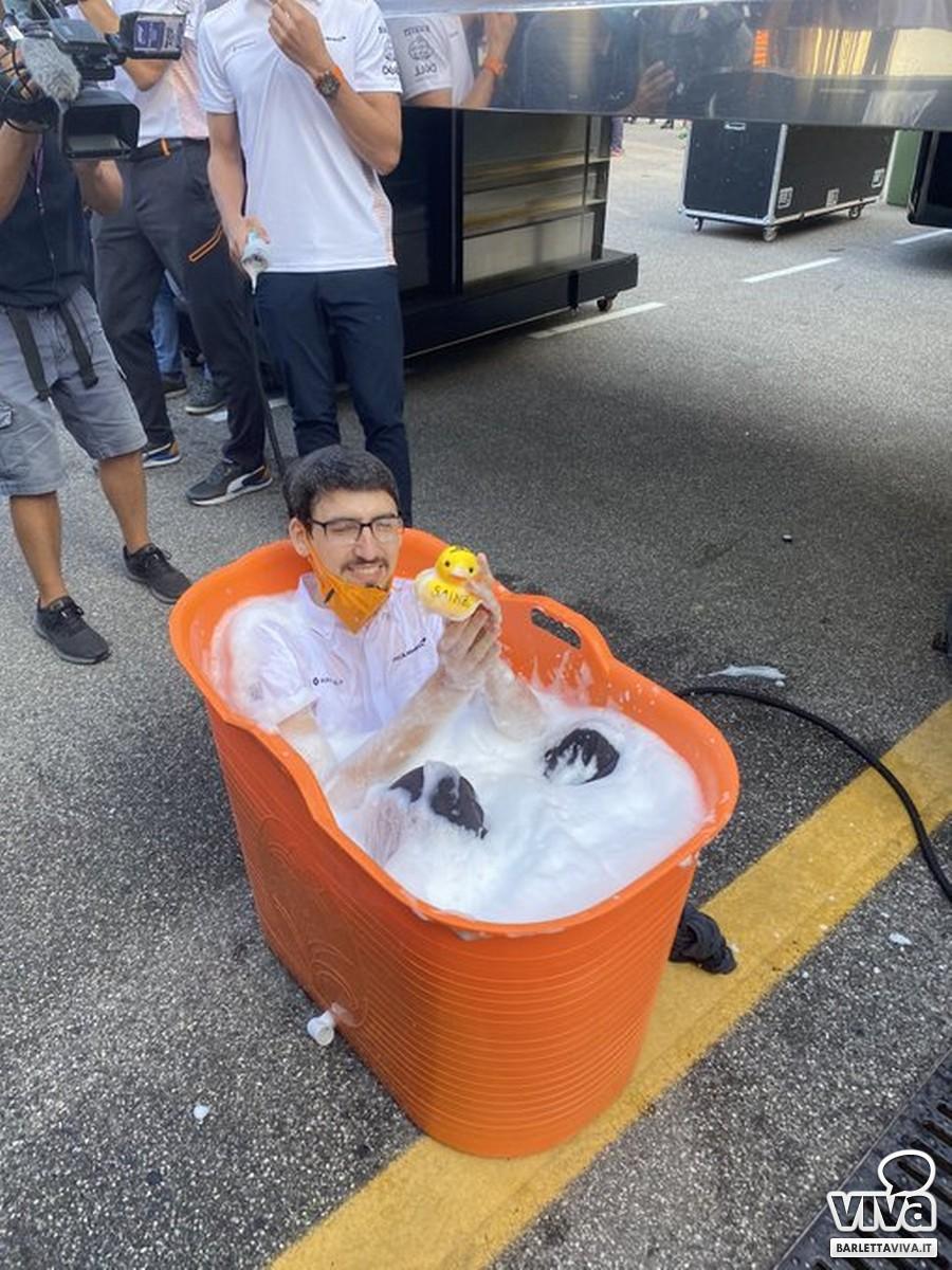 """Successo McLaren al GP d'Italia, """"bagno"""" di gioia per il barlettano Luigi de Martino Norante"""