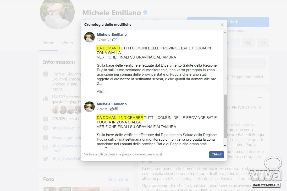 Il post modificato sul profilo di Emiliano
