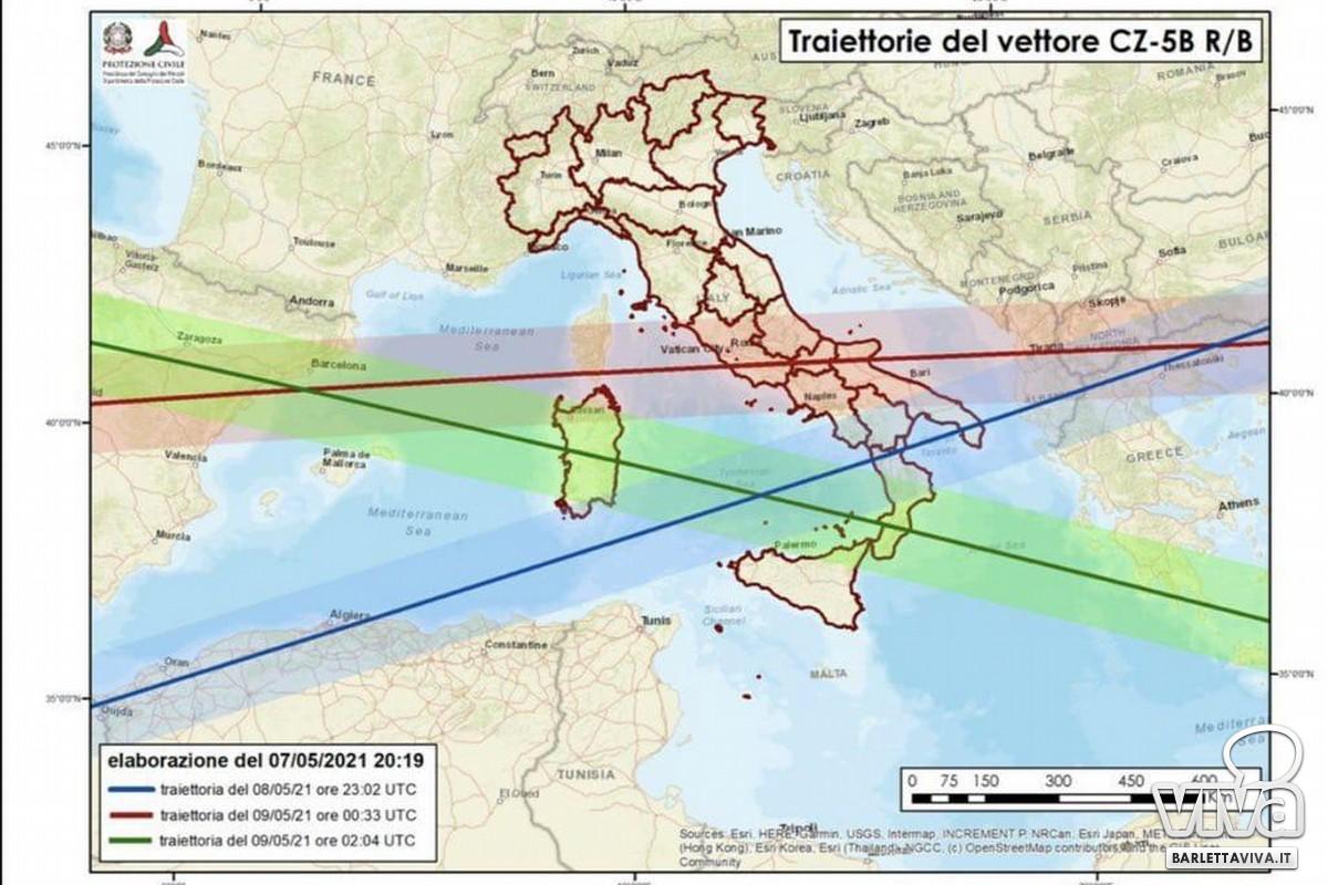 Traiettorie razzo cinese inclusa anche la Puglia