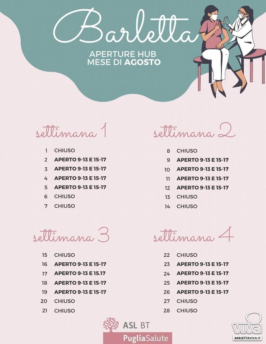 Calendario Hub vaccinale Agosto Barletta