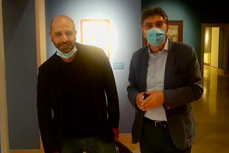 Checco Zalone con il sindaco Cannito
