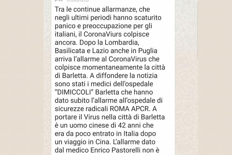 Allarme Coronavirus a Barletta