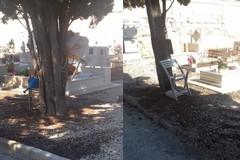 Oggetti abusivi nel cimitero di Barletta, scatta la rimozione