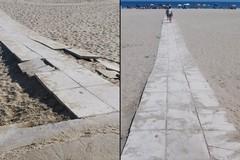 Ripristinata la rampa di accesso alla spiaggia libera di Ponente