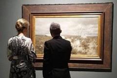 La regina del Belgio ammira le opere di De Nittis