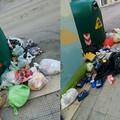 Marciapiedi stracolmi di rifiuti in via Dimiccoli