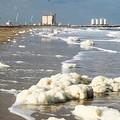 Inquietante schiuma bianca sulla spiaggia di Barletta
