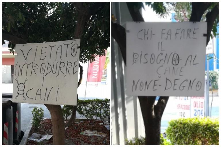 Cartelli contro le deiezioni canine in via Canosa