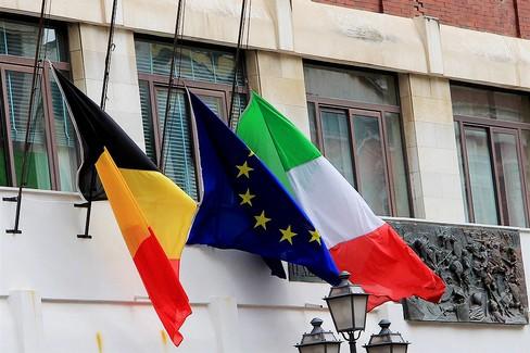 Bandiera belga a mezz'asta