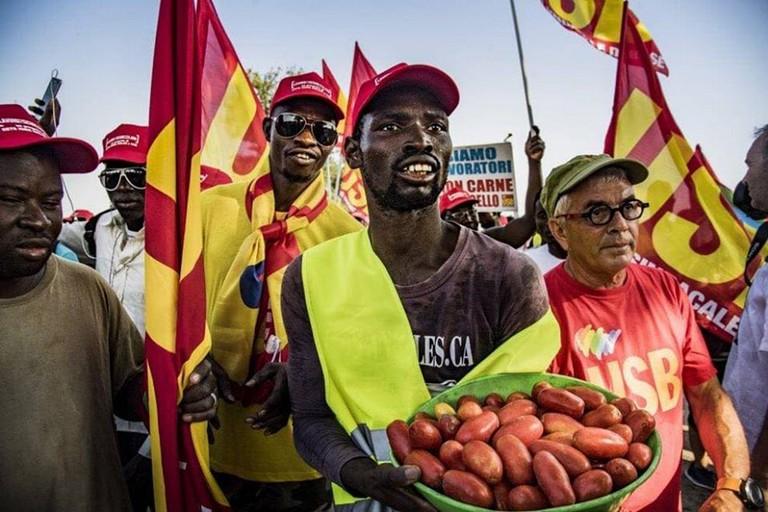 Sciopero dei migranti a Foggia