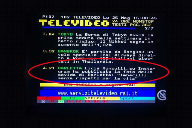 Barletta, la nota della Ronzulli al Televideo