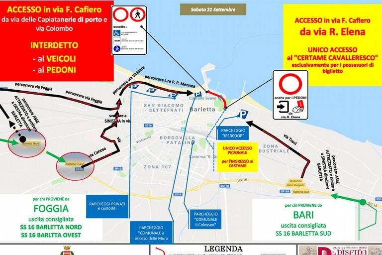 Viabilità per la Disfida di Barletta 2019: tutte le strade interessate