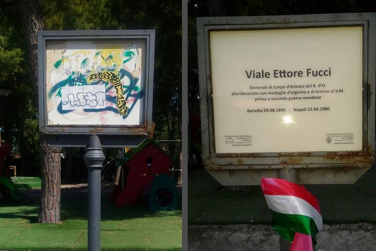 Ripulita la targa in memoria di Ettore Fucci